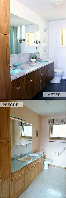 Bathroom Before And After Modern by A Mid Century Modern Inspired Bathroom Renovation Before