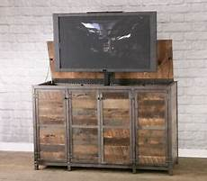 reclaimed wood tv lift cabinet industrial media console w