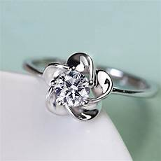 pure temperament 925 sterling silver elegant flower shaped engagement ring