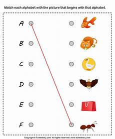 letter matching printable worksheets 24293 matching letters to pictures a to f worksheet turtle diary