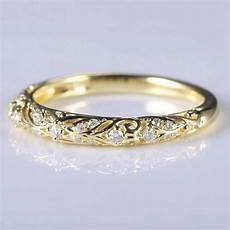 art nouveau solid 14k yellow gold natural diamonds anniversary ring wedding band engagement