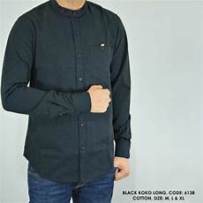 jual baju kemeja panjang kerah koko polos polosan hitam cowok pria di lapak alamia shop omiharachman