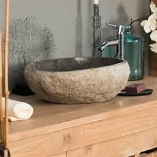 vasque 224 poser en naturelle galet de riviere 40 cm