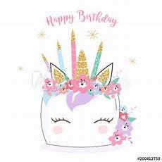 Malvorlagen Unicorn Cake Happy Birthday Unicorn Cake Card Background In Vector