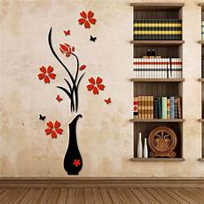 home decor wall decals wall stickers acrylic 3d plum flower vase wall stickers