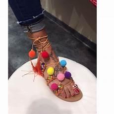 Sandale Femme Pompon Sandales Bijoux Tendance Mode Originale Style Boheme Chic