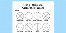 fraction worksheets year 2 free 4176 year 2 read and colour a fraction worksheet activity sheet