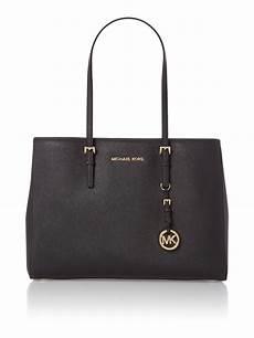 michael kors jet set travel medium black tote bag in black