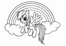 rainbow coloring page of flying baby unicorn near rainbow
