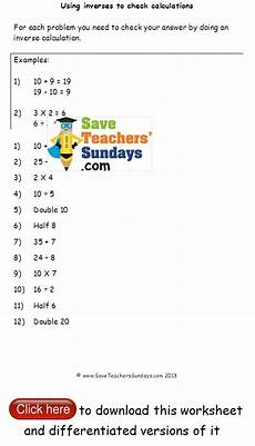 inverse operations checking calculations worksheets math pinterest worksheets