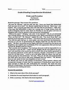 pride and prejudice eighth grade reading worksheets reading comprehension worksheets reading