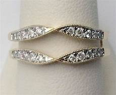 yellow gold vintage milgrain diamonds solitaire enhancer ring guard wrap ring frosting