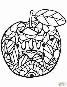 Ausmalbilder Apfel Mandala Zentangle Apple Coloring Page Free Printable Coloring Pages