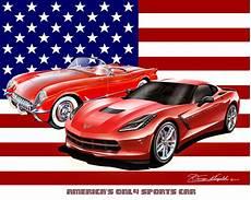 all american corvette fine art print poster by artist