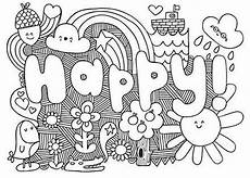 super cool coloring pages where you get to color in the word happy happy coloringpages