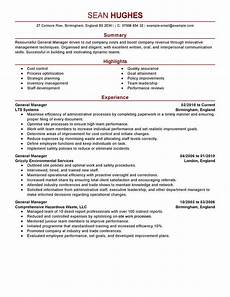 best general manager resume exle from professional