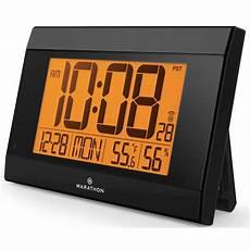 marathon watch company atomic digital wall clock with auto light temperature humidity