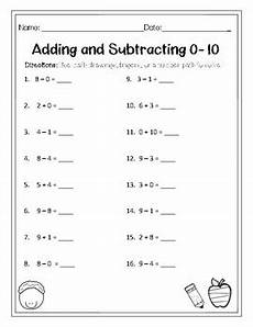 subtraction within 10 worksheets for grade 1 10475 mixed addition and subtraction 0 10 worksheet by maestra miller tpt