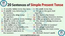 worksheets present tense 19016 20 sentences in simple present tense study here