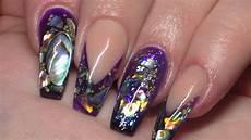 acrylic nails paua shell new nail art youtube