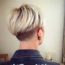 lovely two toned bob with a short buzzed nape hair pixie haircuts on the short side hair