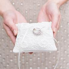 white beaded miniature wedding ring pillow the knot shop