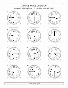 reading time worksheets for grade 2 3168 the reading time on 12 hour analog clocks in 15 minute intervals a math worksheet from the ti