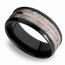 14k rose gold inlay men s wedding ring with meteorite in zirconium