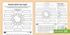months of the year circle cut and stick worksheet activity
