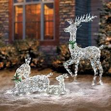 Outdoor Lighted Reindeer Decorations by Lighted Wireframe Reindeer Family Outdoor