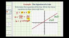 write the equation of a line in slope intercept form ex 1 find the equation of a line in slope intercept form given the graph of a line youtube