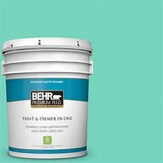 behr premium plus 5 gal p430 3 green parakeet satin enamel zero voc interior paint and primer