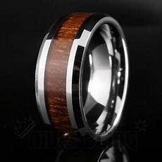 silver tungsten carbide inlay wedding band bridal ring comfort fit men 8mm