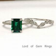 549 emerald shaped emerald engagement ring sets pave diamond wedding 14k white gold lord of