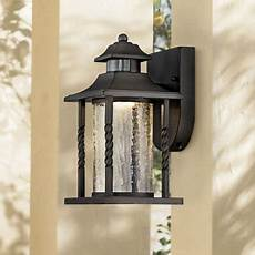 timberland outdoor wall light fixture led black lantern 11 1 2 quot clear crackled glass dusk