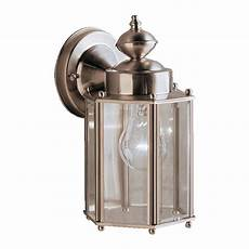 kichler new street 10 25 in h stainless steel medium base e 26 outdoor wall light at lowes com