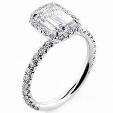 white gold 1 82 cts emerald cut diamond with halo in