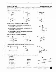 practice 3 1 properties of parallel lines worksheet for 8th 10th grade lesson planet