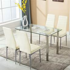 Glass Dining Table 5 dining table set w 4 chairs glass metal kitchen