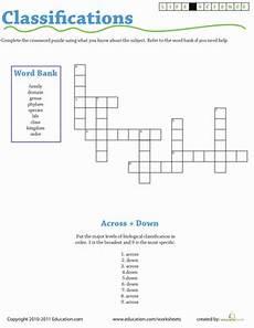 life science crossword classifications worksheet