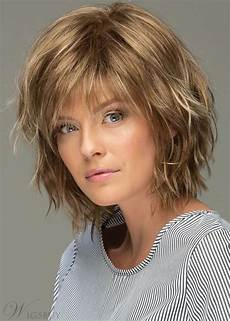s shoulder length style features choppy layers wavy human hair wigs lace front