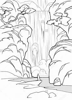 Sketsa Gambar Mewarnai Pemandangan Air Terjun Hitam Putih