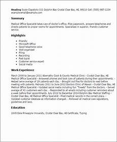 1 medical office specialist resume templates try them now myperfectresume