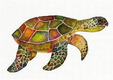 green turtle print of watercolor turtle art small sized artwork aceo atc art