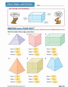 faces edges and vertices worksheet answers shapes worksheets kindergarten lesson plans