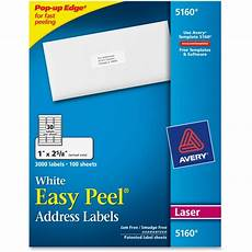 avery 5160 lables avery 5160 easy peel address label 1 quot width 2 62 quot length 3000 box rectangle 30 sheet
