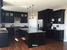 black kitchen cabinets before being painted white allen brothers cabinet painting