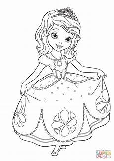 princess sofia curtseying coloring page free printable