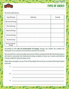 science worksheets energy types of energy view printable sixth grade science worksheet school of dragons education