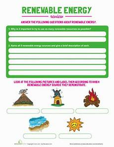 renewable energy worksheet education
